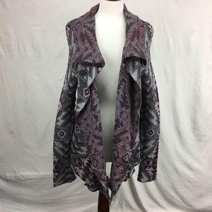 Cabela's Grey/Burgundy Tribal Knit Open Cardigan